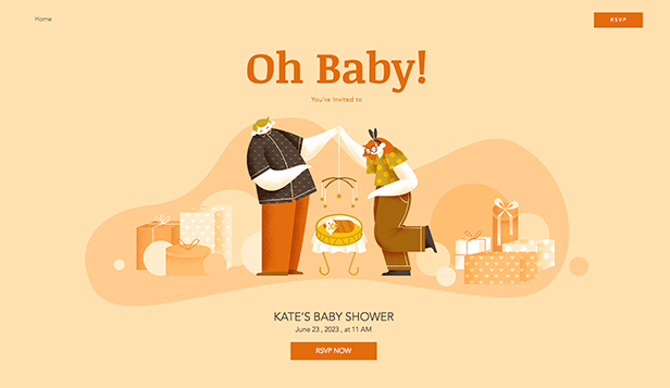 Evenemang website templates – Babyshower