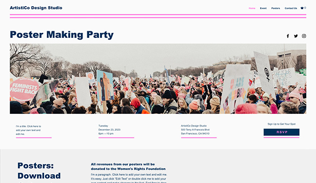 Evenemang website templates – Poster-party