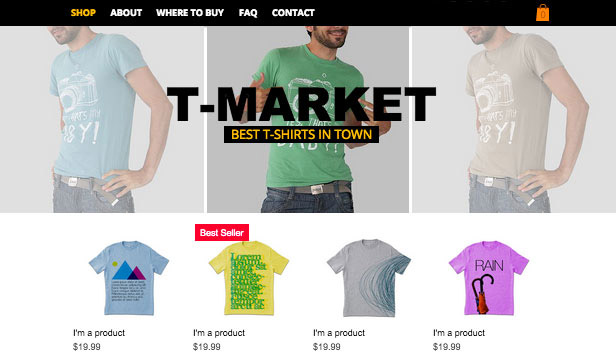 Webshop website templates – T-shirt Shop