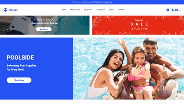 Sport en outdoor website templates – Pool Supply Store