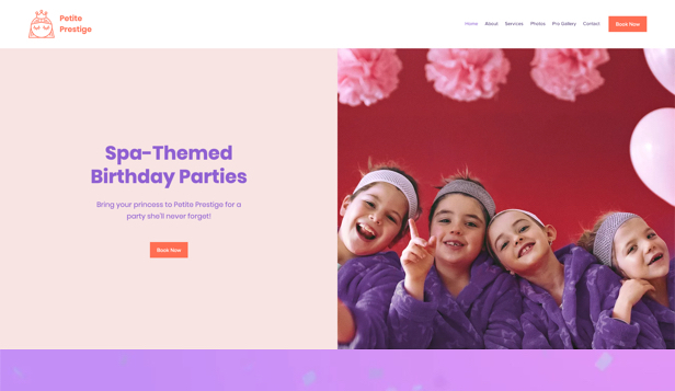 आयोजन निर्माण website templates – Birthday Party Spa