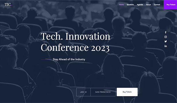 Conferenties en bijeenkomsten website templates – Techniek conferentie landingspagina