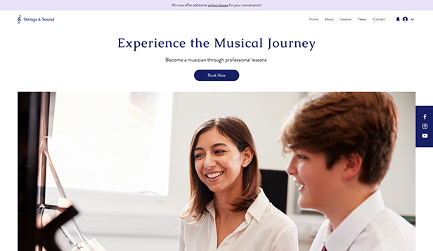 Hudba website templates – Music Lessons