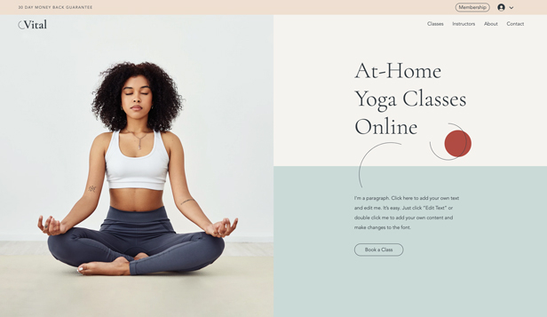 Sport en fitness website templates – Virtual Yoga Classes