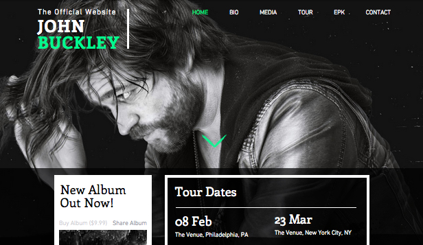 Muzyka website templates – Rock alternatywny