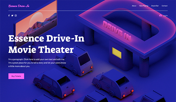 Virksomheter website templates – Drive-In Movie Theater