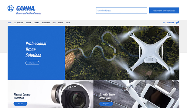 Elektronikk website templates – Dronebutikk