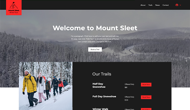 Cestování a turismus website templates – Winter Hiking Tours