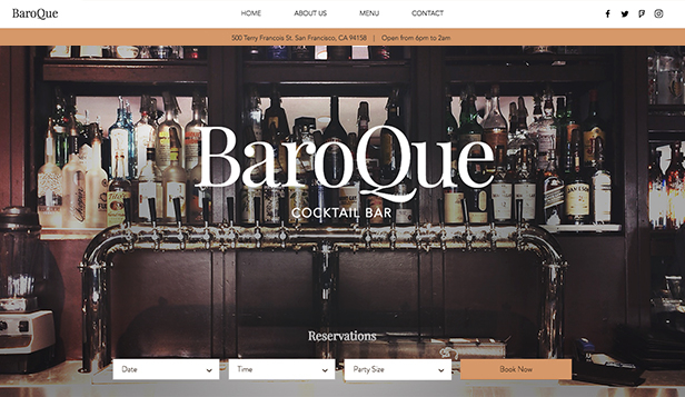 Restaurant og mat website templates – Cocktailbar