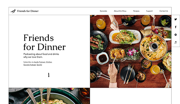 Novo website templates – Food Podcast