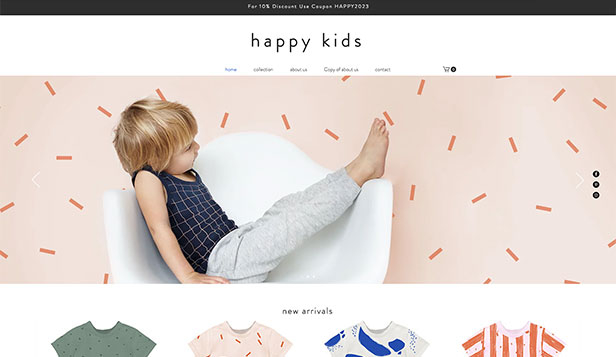 Mode website templates – Shop für Kinderbekleidung