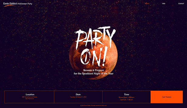 Evenemang website templates – Halloween Party