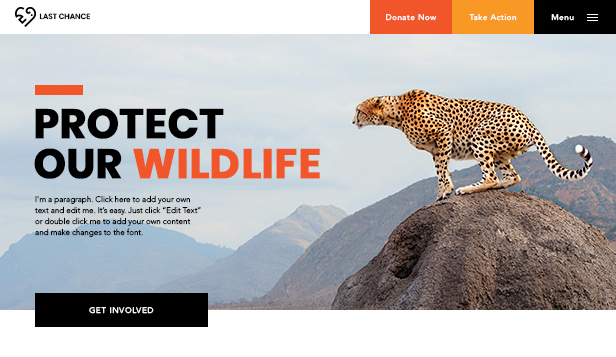 Non-Profit website templates – Wildlife Conservation