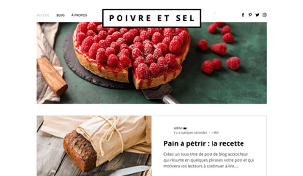 Templates de site web pour Blog - Blog Restaurant