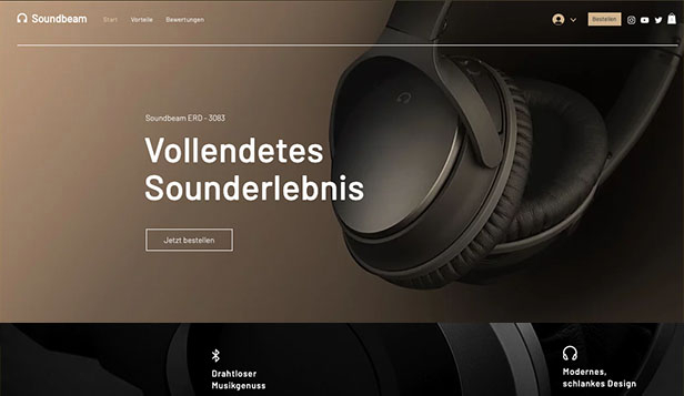 Elektronik website templates – Kopfhörer - Landingpage