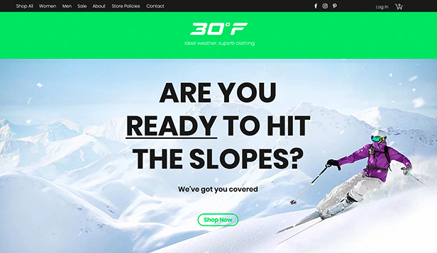 Nettbutikk website templates – Online Ski Shop