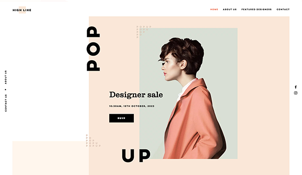Design hjemmesideskabeloner – Designer pop-up shop