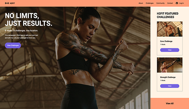 Sport en fitness website templates – Online Fitness Challenges