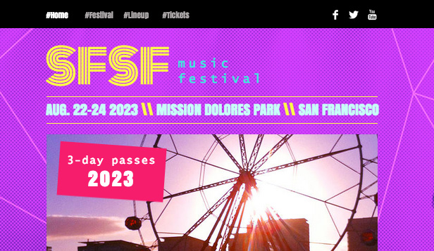 Arrangementer website templates – Musikkfestival