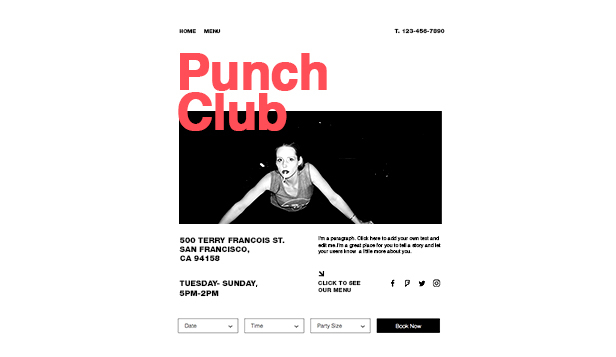 Bars en clubs website templates – Introductiepagina bar