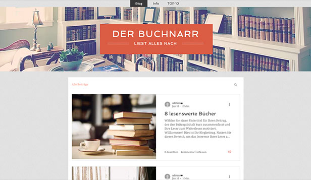 Kreative Künste website templates – Literaturblog