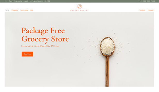 Eten en drinken website templates – Zero Waste Store