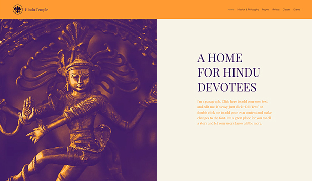 Religion website templates – Hindu Tempel