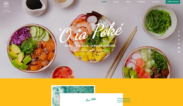 Restaurant website templates – Poké-restaurant