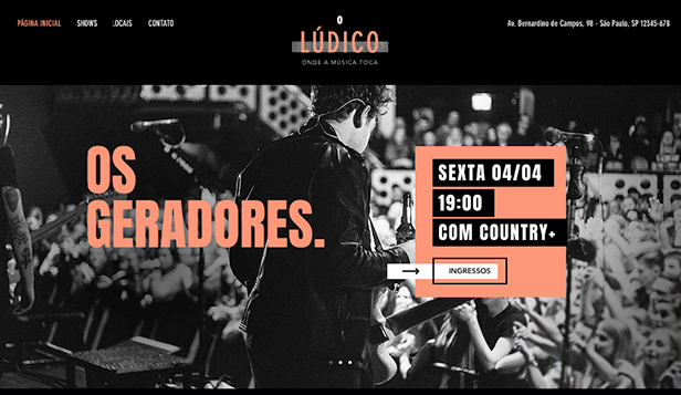 Eventos website templates – Casas de Shows