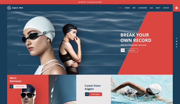 Sport en outdoor website templates – Badkleding winkel