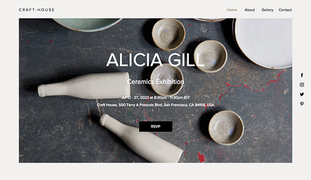 Billedkunst website templates – Gallerievent