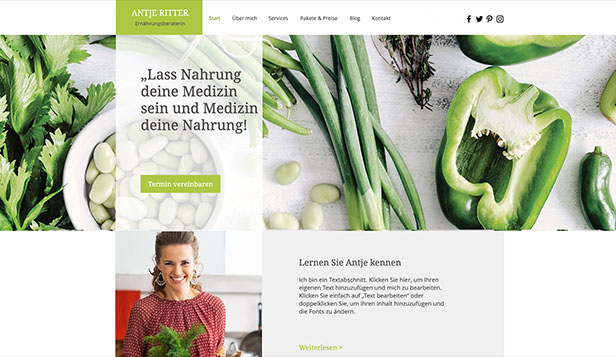 Gesundheit & Wellness website templates – Diätassistentin