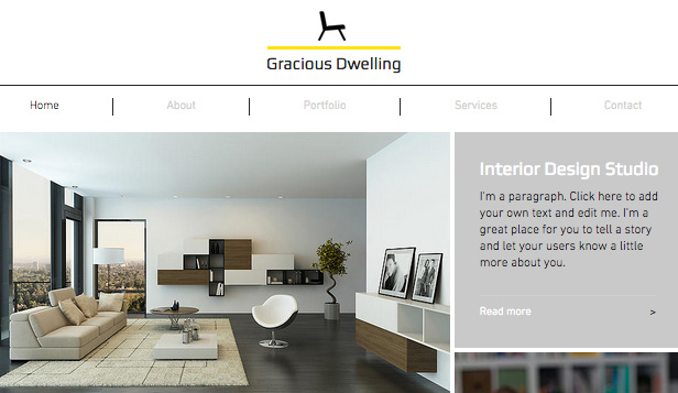 Arkitektur website templates – Interiørdesign