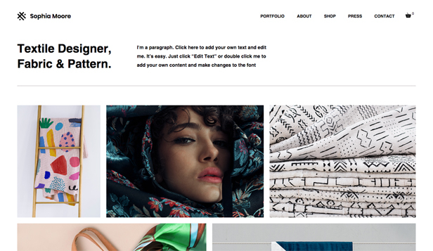 Mode website templates – Textildesigner