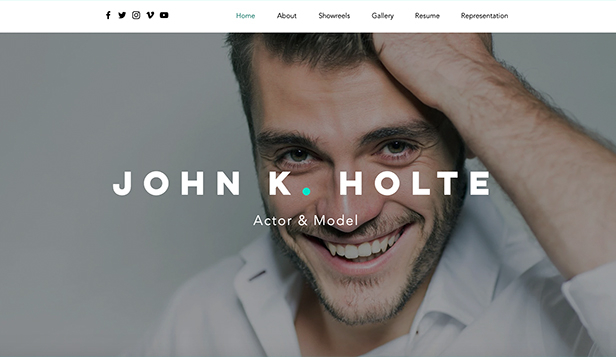 Wideo website templates – CV aktora i modela