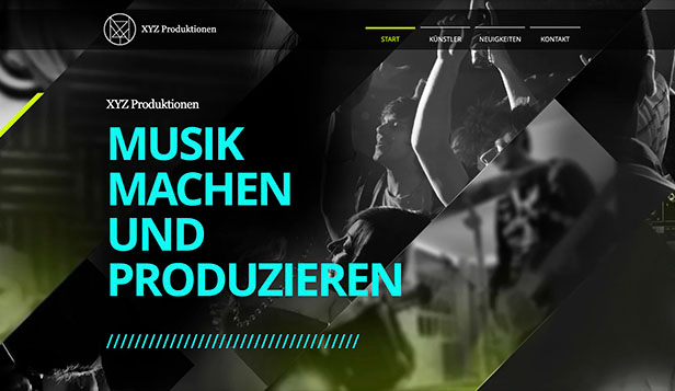 Musikindustrie website templates – Musikproduction