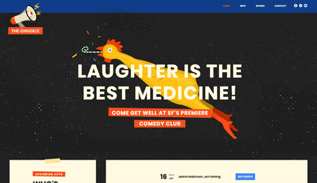 Locaties website templates – Comedyclub