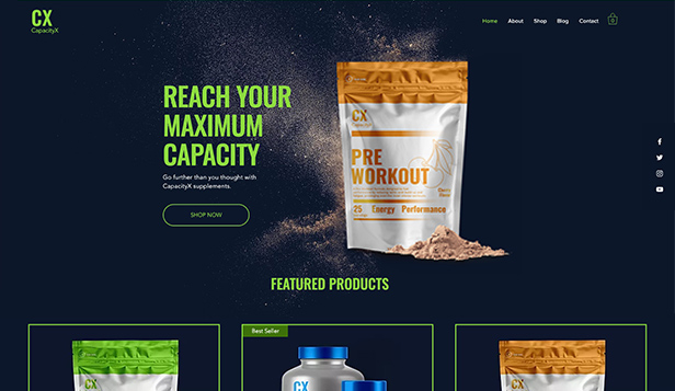 Sport et fitness website templates – Boutique de Nutrition Sportive