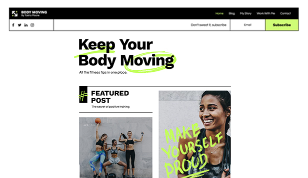 Sport e Fitness template – Blog di fitness