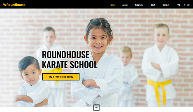 Sport og trening website templates – Karateskole for barn