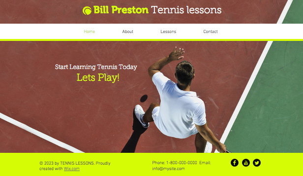 Deportes y fitness plantillas web – Instructor de tenis