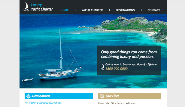 Resor & Turism website templates – Yacht chartering