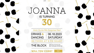 Events website templates - Surprise Birthday Invitation