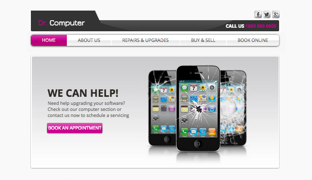 Technologie und Apps website templates – Computer-Shop