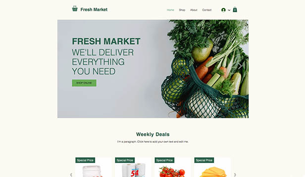 Webshop website templates – Online supermarkt