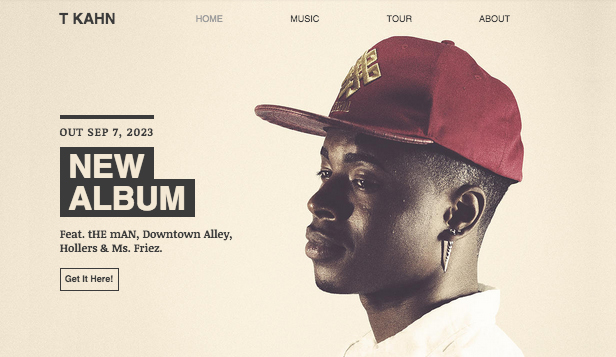 Hudba website templates – Hip-Hop umělec