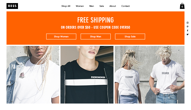 Mode website templates – T-shirt Shop