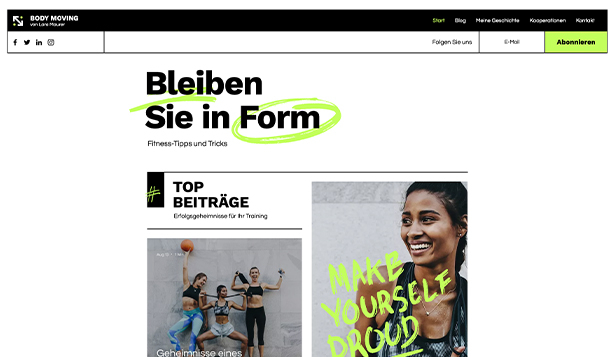 Alle website templates – Fitness Blog