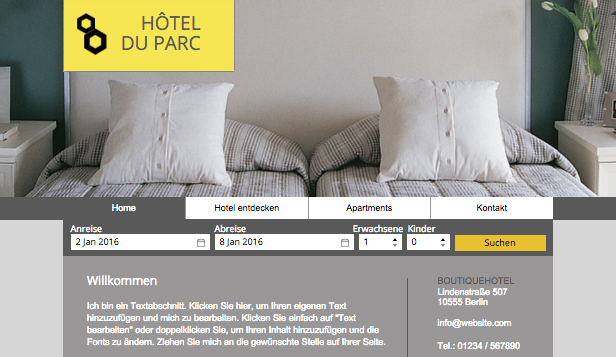 Reisen & Tourismus website templates – Boutique-Hotel