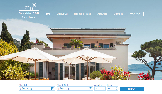 Hotele i B&B website templates – B&B na plaży